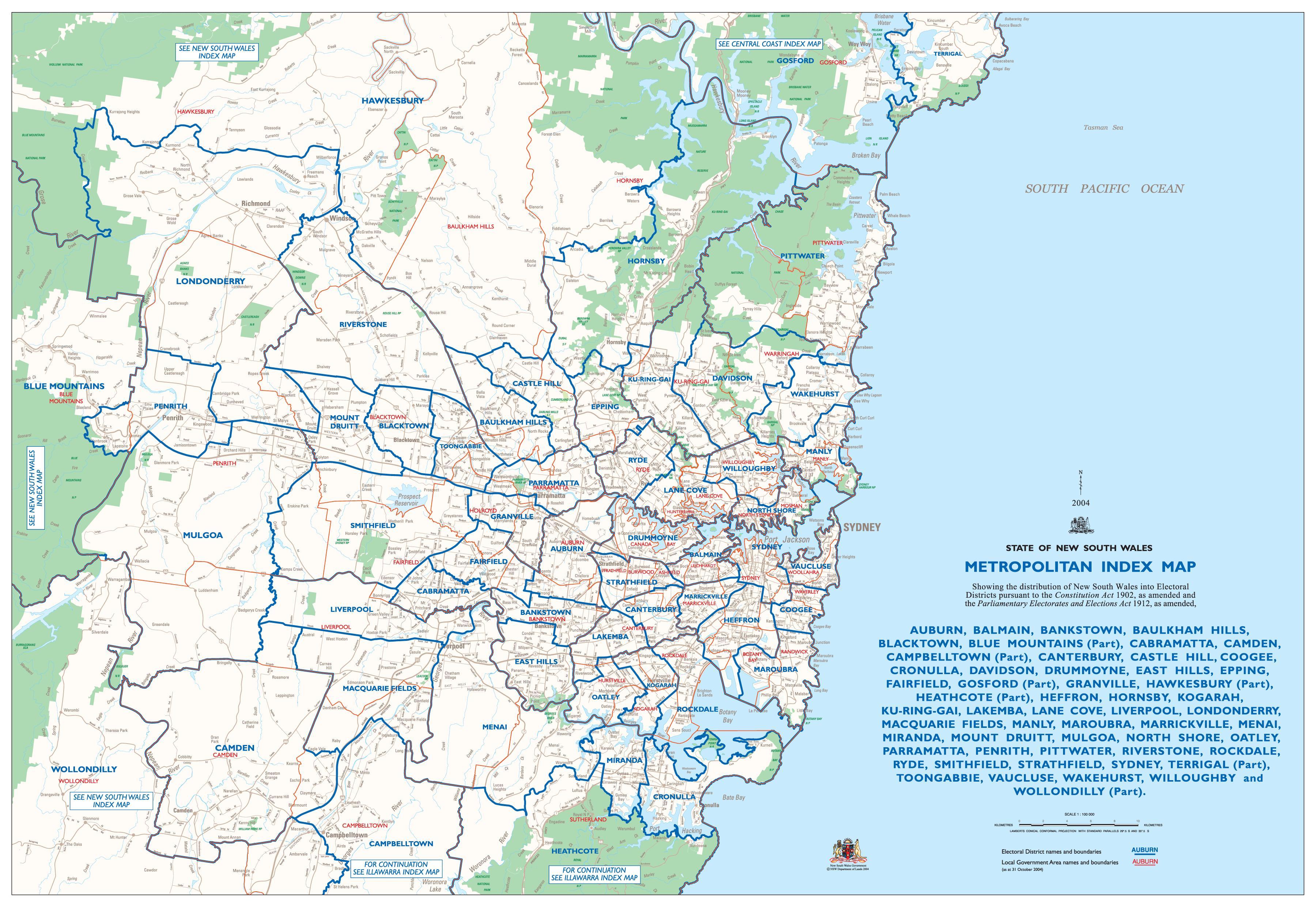 Kartta Sydney Lahiossa Sydney Kartta Lahioissa Australia