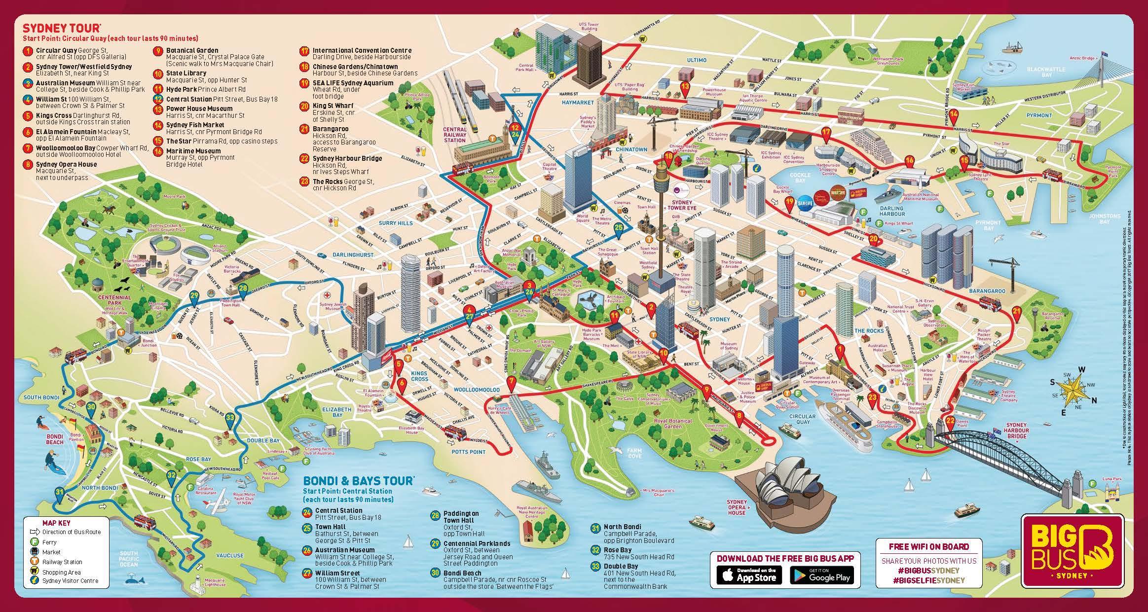 Sydney Nahtavyydet Kartta Kartta Sydney Nahtavyydet Australia